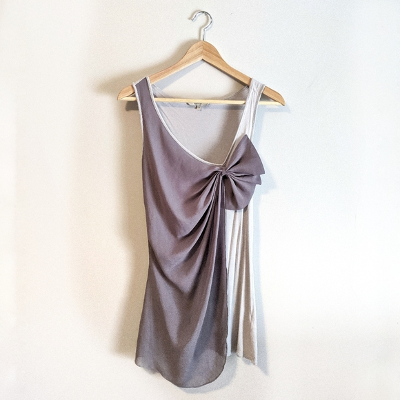 RW & CO grey sleeveless top with front bow